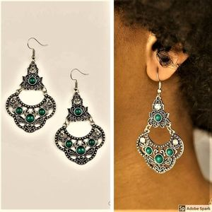 Garden State Glow - Green & Silver Hook Earrings